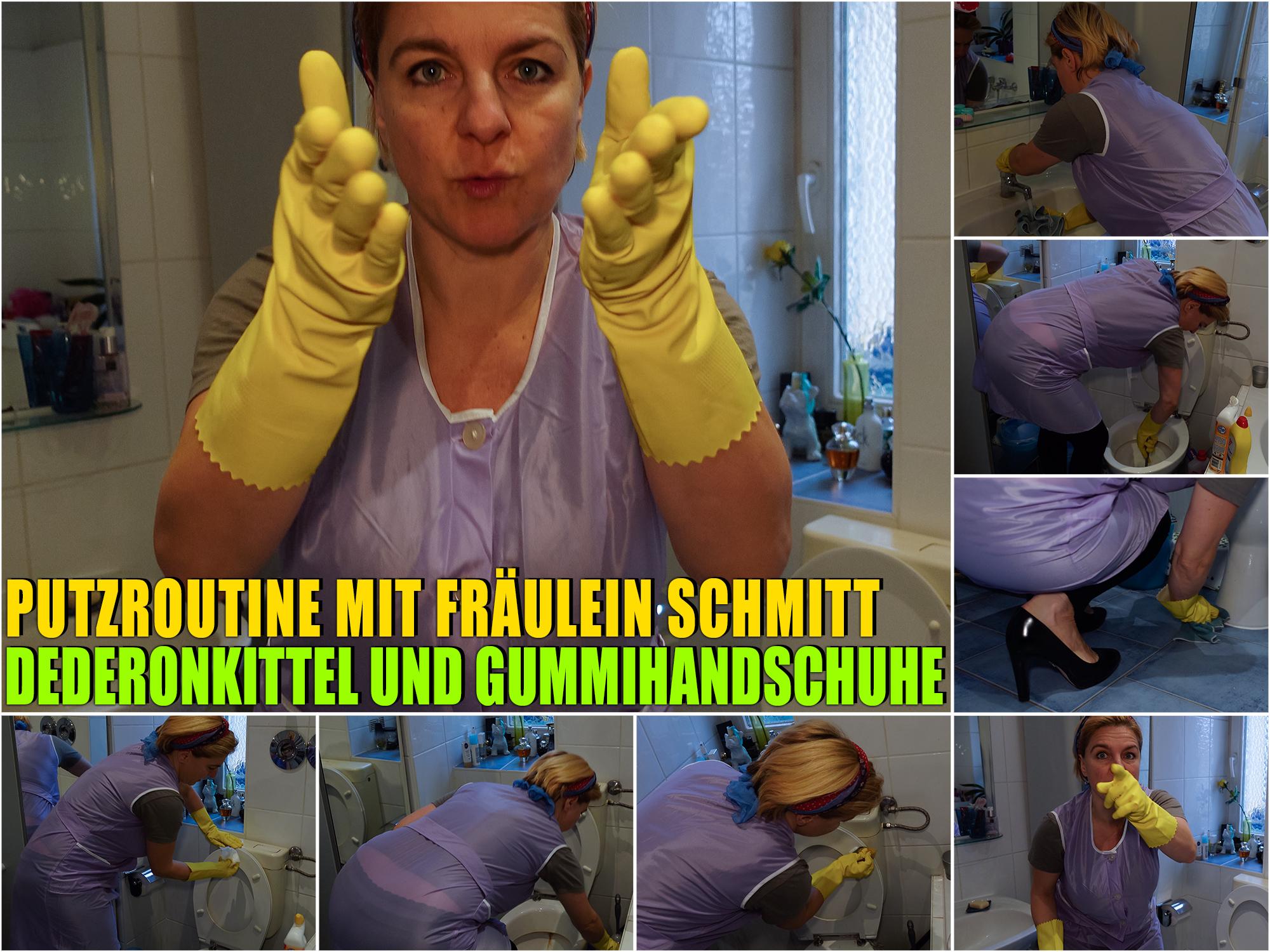 01016 - Putzroutine mit Fräulein Schmitt im Dederonkittel und Gummihandschuhen