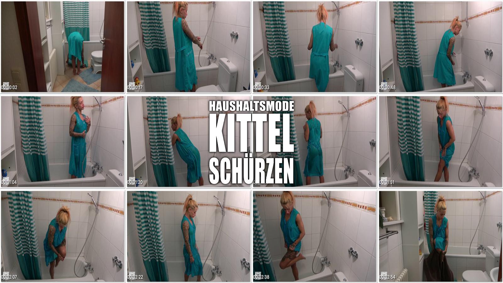 Sandy Video 043: Duschen im türkisen Dederonkittel